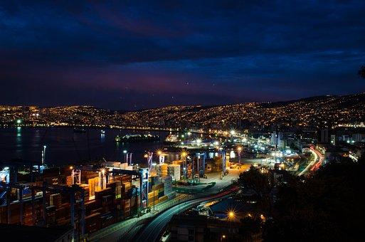 Night, City, Valparaiso, Urban Landscape, Lights, Light