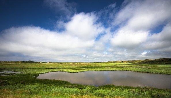 De Slufter, Texel, Clouds, Netherlands, Nature, Dunes