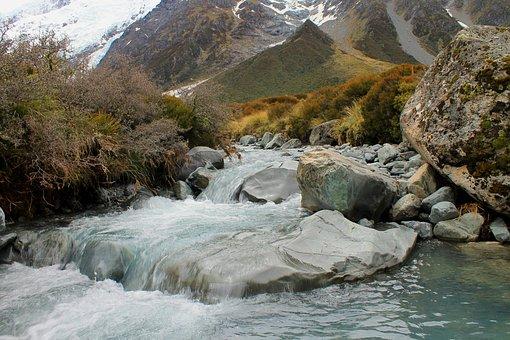 River, Glacier, Water, Landscape, Natural, View
