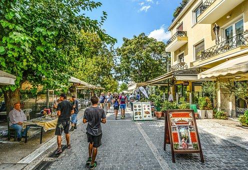 Athens, Cafe, Street, Tourism, Hdr, Greek, Greece, Shop