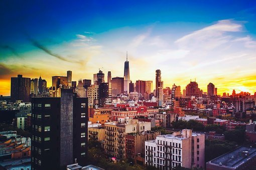 Chicago, Illinois, Sunset, Sky, Clouds, Sunrise, City