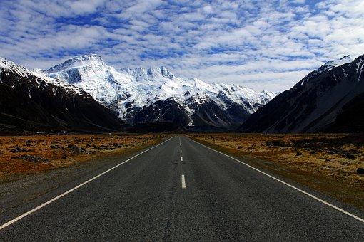Mountains, Landscape, Snow, New Zealand, Winter