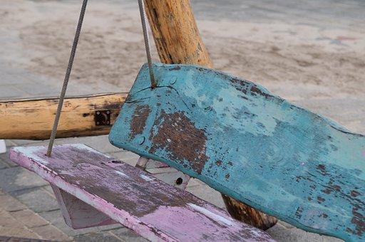 Beach, Pink, Blue, Bench, Swing, Bank, Landscape