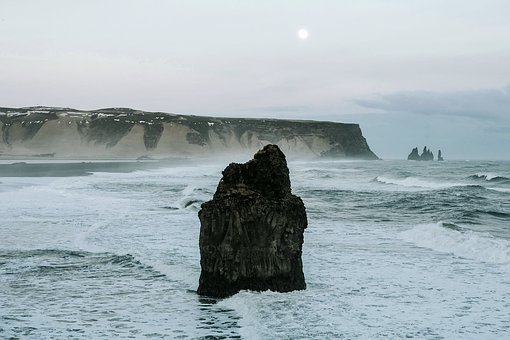 Iceland, Mountains, Cliff, Sea, Ocean, Water, Rock