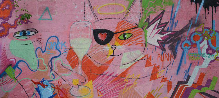 Graffiti, Street Art, Wall, Urban, Spray, Pink, Art