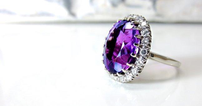 Amethyst, White Gold, Diamond, Vintage, Purple, Halo