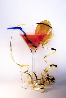 Cocktail, Glass, Streamer, Straw, Alcohol, Drink