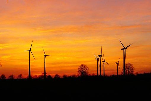 Windräder, Sunset, Wind Energy, Evening Sky, Wind Park