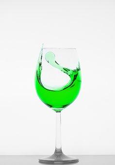 Glass, Wine Glass, Liquid, Green, Crystal Glass