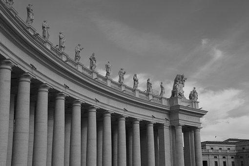 Architecture, B W, St Peter's Square, Rome, Italy
