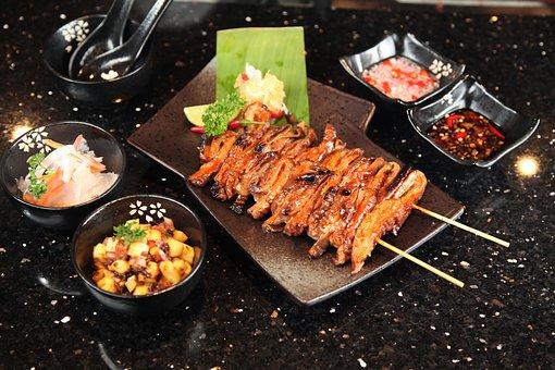 Chicken Intestine, Grilled, Barbecue, Chicken, Food