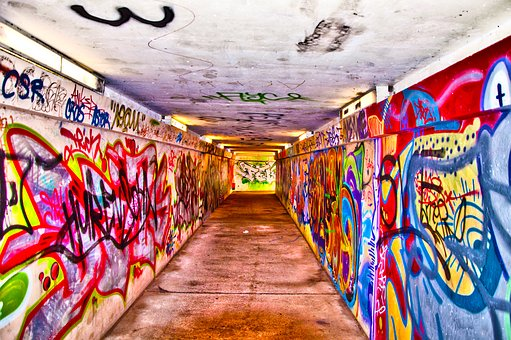 Pedestrian Tunnel, Graffiti, Underpass, Concrete, Mural