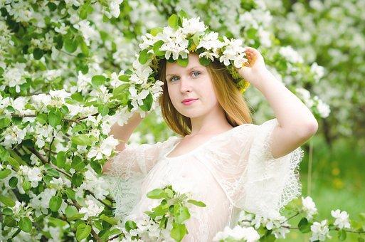 Spring, Girl, Flowers, Portrait, Mood, Eyes, Sun
