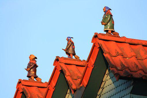 Steinau, Afterglow, Roof, Witches, Fairy Tales, Figures