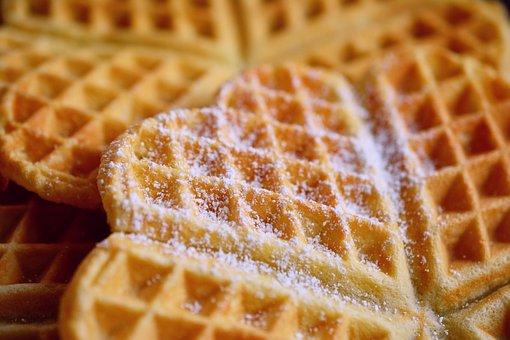 Waffles, Waffle Heart, Icing Sugar, Cake, Pastries
