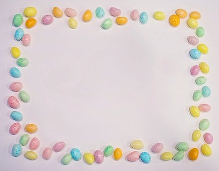 Easter, Border, Frame, Jelly Beans, Candy, Pastels