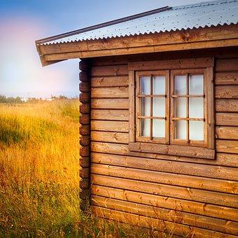 Hut, Meadow, Grass, Window, Log Cabin, Closed, Colorful