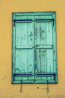 Wall, Window, Wooden, Old, Aged, Weathered, Rusty, Blue