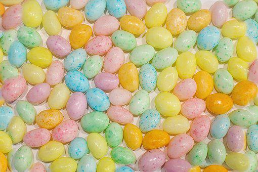 Easter, Jelly Beans, Candy, Pastels, Background, Round