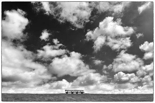 Black And White, Clouds, Sky, Landscape, Nature, Mood