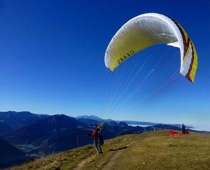 Paraglider, Wind, Sky, Mountains, Allgäu