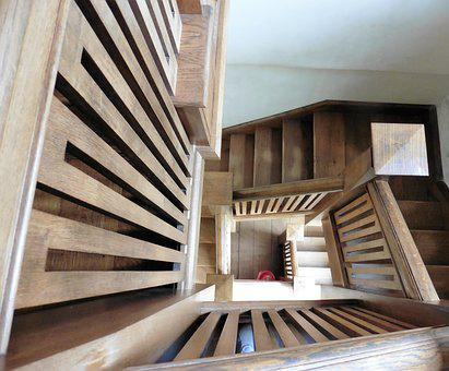 Wooden Steps, Stairs, Architecture, Stairway, Railing