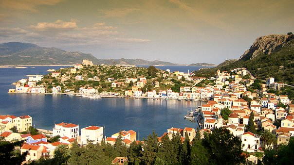 Sea, Port, Greece, Ship, Sun, Sky, Water, Old Town