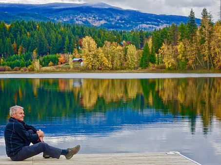 Sitting, Tranquil, Relaxing, Reflection, Lake, Trees