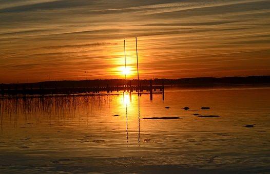 Sunset, Lake, Abendstimmung, Romance, Nature, Twilight