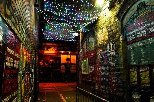 Berlin, Alley, Lights, Bottle, Beer, Label, Lighting