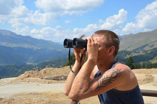 Binoculars, Journey, Dahl, Man, Guy, Nature, Landscape