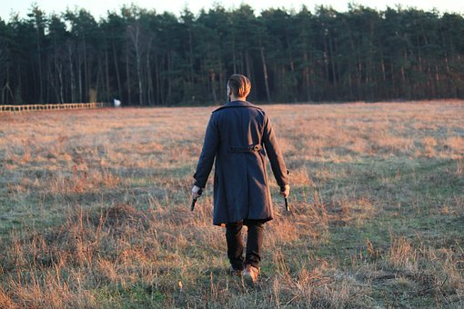 Man, Move, Back View, Weapons, Coat, Immediately, Blond