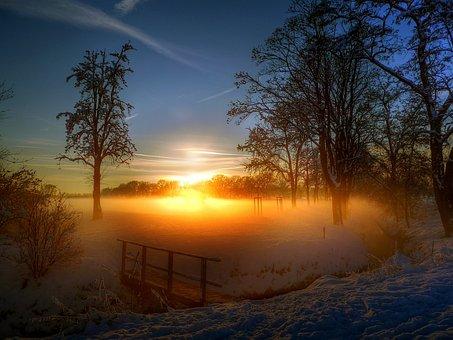Evening, Sun, Bridge, Sunset, Romantic, Afterglow
