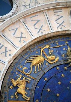 Venice, Italy, Zodiac Sign, Clock, Cathedral