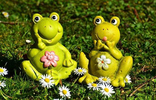 Frogs, Figures, Funny, Meadow, Cute, Fun, Green