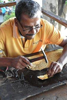 Sri Lanka, Arts And Crafts, Copper, Work, Men's, Master