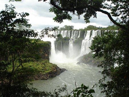 Iguazu, Waterfall, Falls, Water, Nature, Landscape