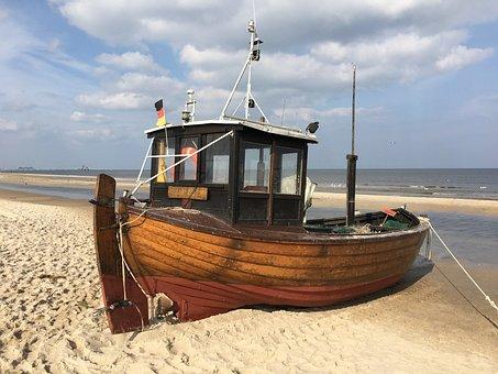 Ship, Kahn, Beach, Usedom, Baltic Sea, Boot, Old, Port
