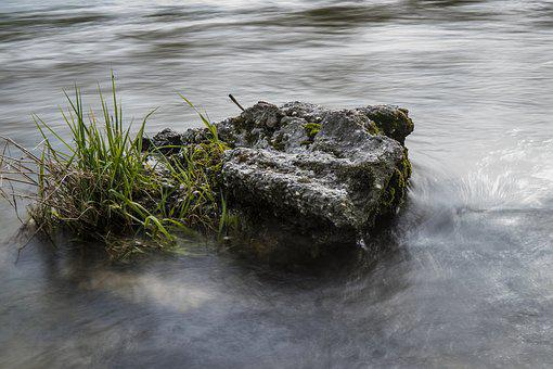 Water, Stone, Grass, Grasses, Long Exposure, Rock