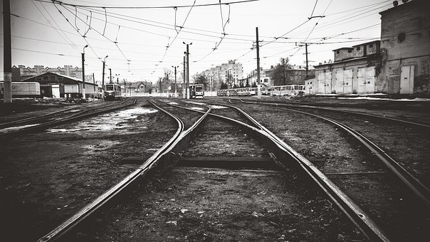 Tram, Depot, Russia, Black, Urban, City, Wire, Omsk