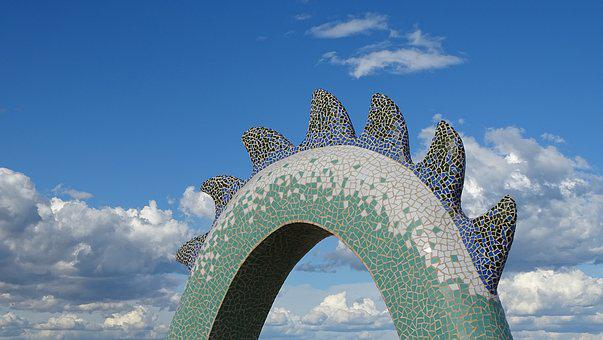 Dragon, Beach, Mosaic, Sculpture, Art, Artistic