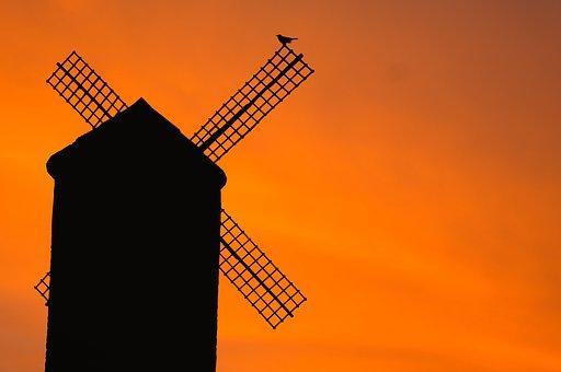 Windmill, Old, Bird, Silhouette, Sunset, Evening