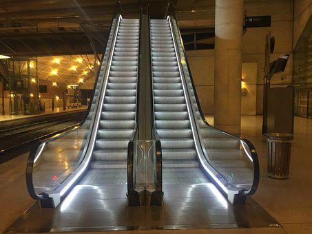 Monaco, Train Station, Escalator, Travel, Transport