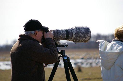 Bird Watchers, Camera, Man, Outdoor Life