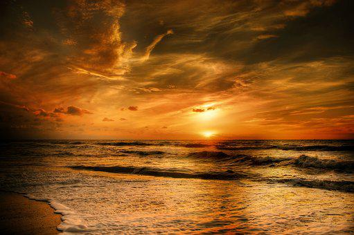Sunset, Denmark, Sea, Evening Sky, Coast, Water, Beach