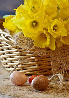 Daffodils, Yellow, Spring, Easter, Basket, Osterkorb