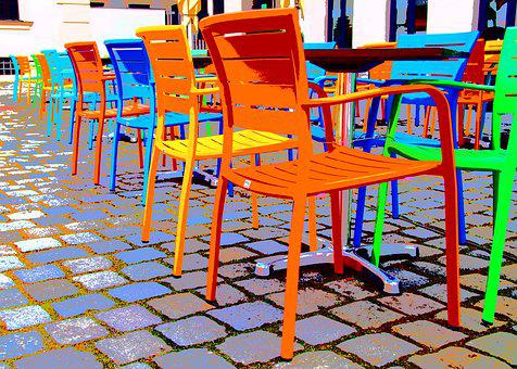 Chairs, Chair, Colorful, Seat, Metal, Mess, In The Free