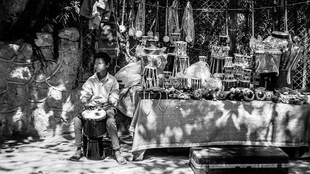 Street, Drums, Kid, Selling, Music, Instrument, Young
