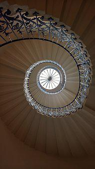 Stairs, Spiral, Queens-house, Stairway, Staircase