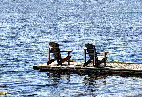 Lake, Dock, Chairs, Summer, Cottage, Water, Landscape